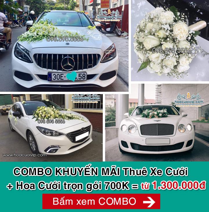 Combo khuyến mãi thuê xe cưới và hoa cưới trọn gói