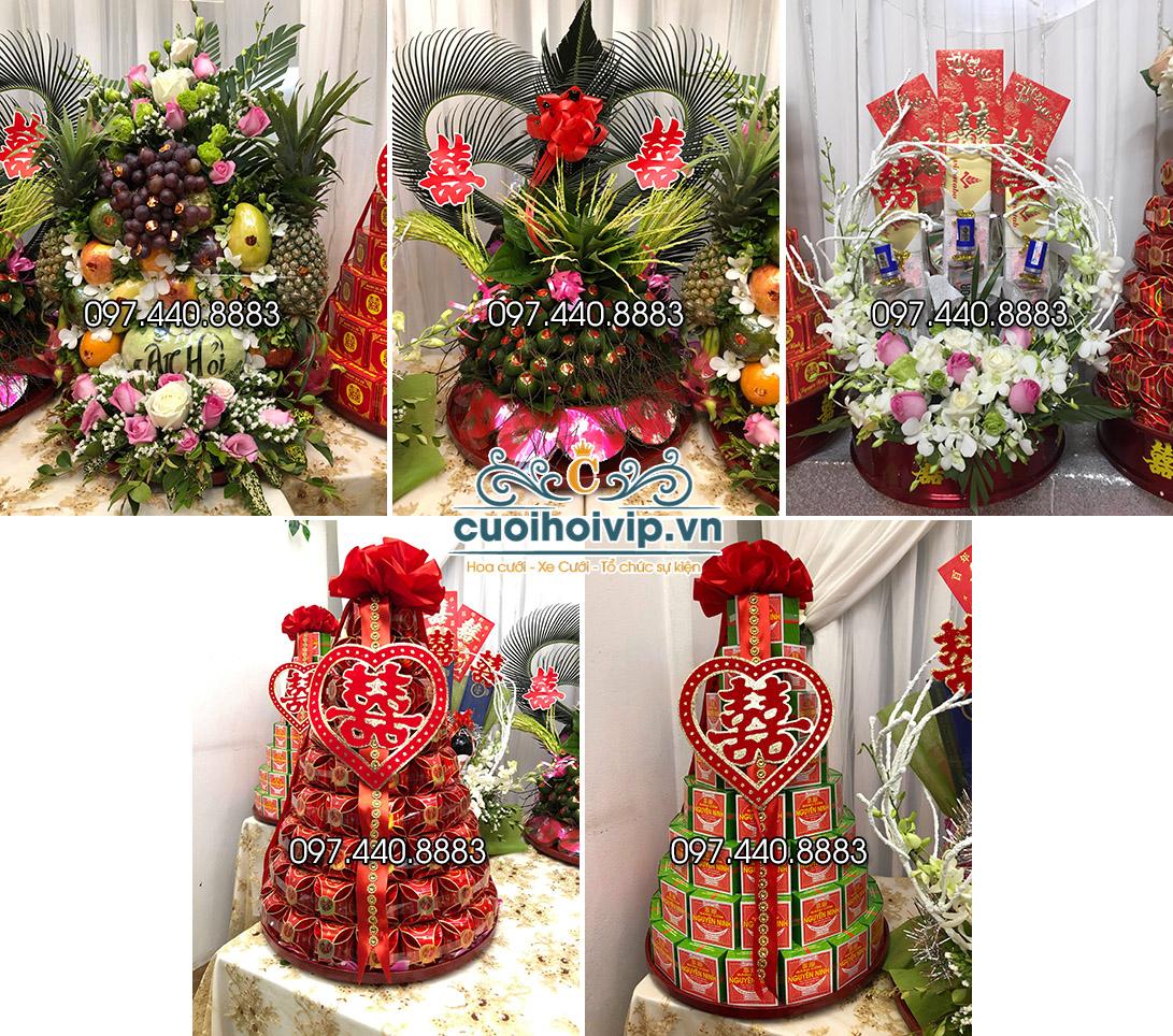 Lễ ăn hỏi 5 tráp truyền thống có lẵng hoa quả