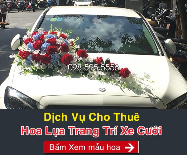 dịch vụ cho thuê hoa lụa trang trí xe cưới